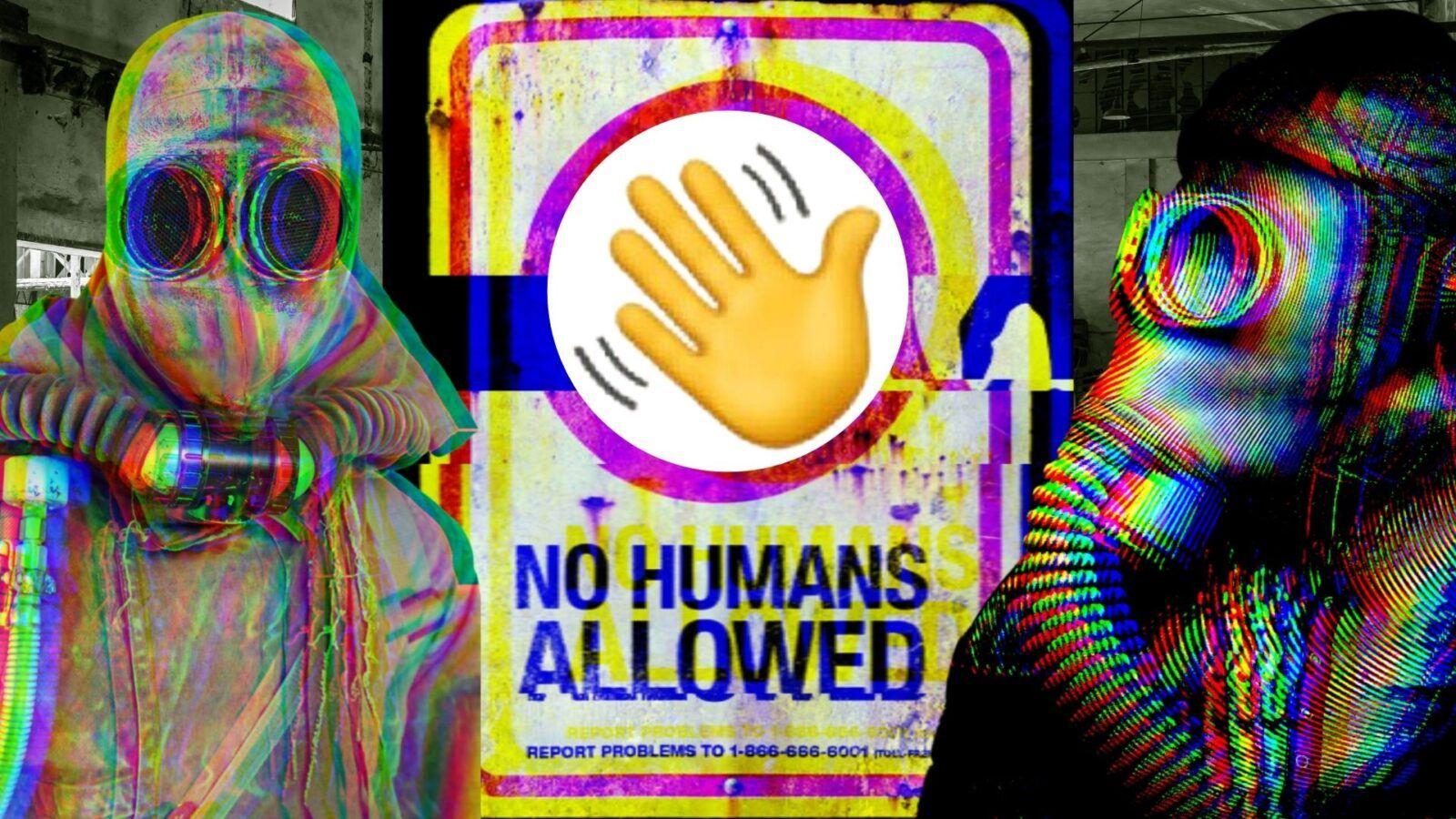 Logo Clubhouse App con due personaggi post apocalittici
